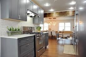 white kitchen cabinets with wood beams transitional kitchen with gray cabinets rustic wood beam