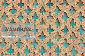 traditional design traditional design on minaret of kasbah mosque marrakech morocco