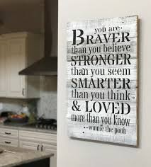you are braver winnie the pooh reclaimed wood wall art
