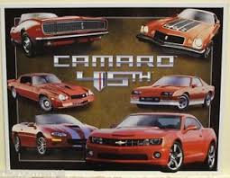 camaro pictures by year chevrolet camaro metal sign camaro tribute 45 years multi year