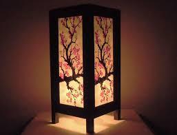 Japanese Rice Paper Lamp Shades by Thai Vintage Handmade Asian Oriental Japanese Sakura Flower