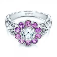 flower design rings images Custom flower top white and purple sapphire engagement ring 101932 jpg