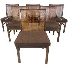 set of six mid century modern cane back dining chairs by lane