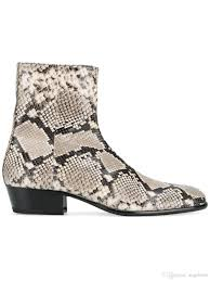 classic men western fashion snakeskin leather ankle boots side