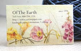 flower seed paper business cards on handmade paper with flower seeds