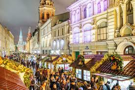 the center of moscow decorated for new year holidays russia