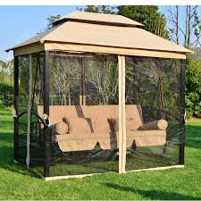 15 X 15 Metal Gazebo by Outsunny Outdoor 3 Person Patio Daybed Canopy Gazebo Swing Tan W