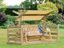 patio 36 wooden patio swing set with canopy oak wood frame