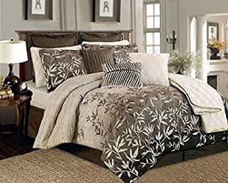12 pieces brown beige bamboo leaves tropical comforter
