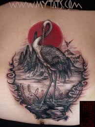 crane on back by jess yen tattoonow