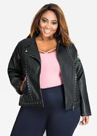 jacket moto plus size faux leather jacket embroidered and stud faux leather