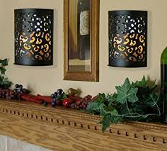 Flameless Candle Wall Sconce Black Etched Metal Indoor Outdoor Wall Sconce