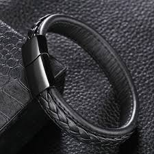 steel stainless magnetic bracelet stainless images Genuine leather braided bracelet with black stainless steel jpg
