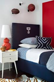 Blue And Red Boys Bedroom Red And Blue Boys Bedroom With Navy Monogram Headboard