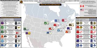 Nba Divisions Map National Hockey League The Start Of The Second Expansion Era
