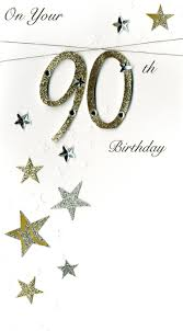 90th birthday card u002790 gold number with stars u0027 sorry out of