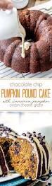 chocolate chip pumpkin pound cake with cinnamon pumpkin cream