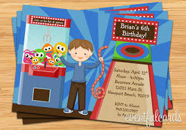 kids arcade party birthday invitation print at home or e card by