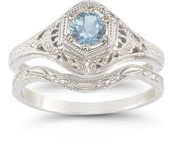 Aquamarine Wedding Rings by Antique Style Aquamarine Wedding Ring Set