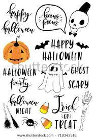 halloween lettering set pumpkin skeleton ghost stock vector