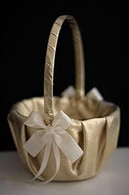 wedding baskets gold ivory flower girl basket gold ivory petals