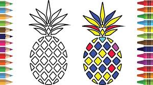 drawing and coloring page for pineapple how to draw rainbow