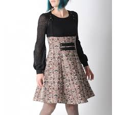 high waisted skirt waisted skirt with suspenders beige and black patterned fabric
