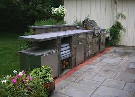 kitchen rolling evo grill and outdoor kitchen with brown solid