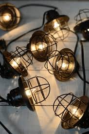 Patio Cafe Lights by Cafe String Lights Black Metal Lamp Shades 10ct End To End Ul Listed