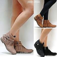 s boots ankle taupe black fringe moccasin boots ankle