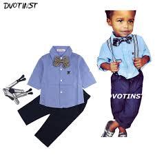 boys light blue dress pants baby boys clothes full sleeves gentleman formal uniform suit shirt