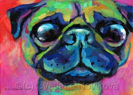 animal acrylic paintings funny pug colorful painting by svetlana