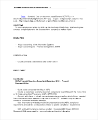Compliance Analyst Resume Sample by Financial Analyst Resume 10 Pdf Word Documents Download Free
