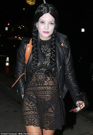 Halloween Costume Lily Allen Shows Skin Lace Wednesday Addams