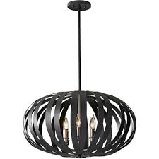 Black Pendant Light Large Modern Ceiling Pendant Light In Textured Black Cage Design