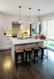 kitchen natural wooden bar stools with u shaped kitchen cabinet