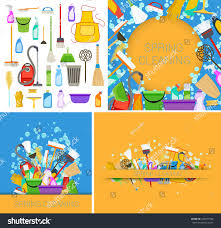 springcleaning set spring cleaning supplies blue yellow stock vector 447877966
