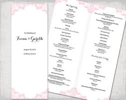 catholic wedding program templates pastel pink program etsy