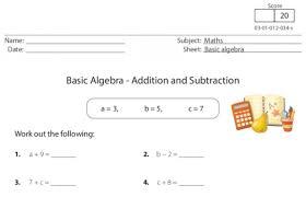 basic algebra u2013 addition and subtraction worksheet for ks1