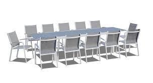 Modern Patio Dining Sets 13 Extendable Modern Patio Dining Set Gray White Back