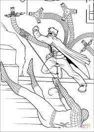 spider man caught doctor octopus coloring free printable