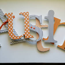 Fleur De Lis Home Decor by Baby Boy Nursery Wooden Letters Orange And Grey