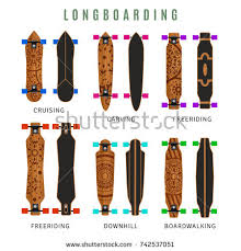 vector collection types longboards ornaments stock vector 742537051