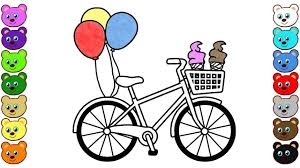 how to draw bicycle bike with ice cream u0026 balloons coloring