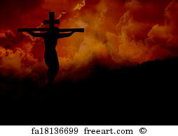 free print of jesus crucified three crosses on a hill