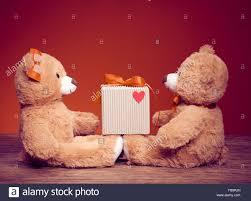 valentines teddy bears valentines day teddy bears vintage stock photo