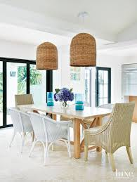 Basket Chandeliers Modern White Dining Room With Basket Chandeliers Luxe Interiors