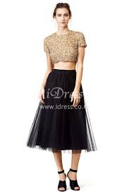 Black Cocktail Dresses With Sleeves Beaded Tea Length Cocktail Dresses Long Dresses Online