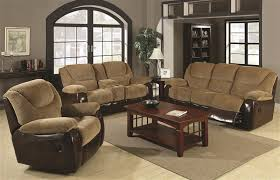 Reclining Sofas And Loveseats Sets 2 Reclining Sofa Loveseat Set In Two Tone Upholstery By