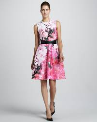 sleeveless dress lhuillier floralprint sleeveless dress in pink lyst